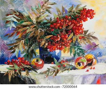 Still-life with a mountain ash and apples - stock photo