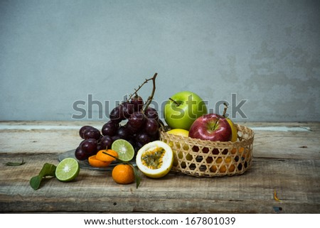 Still life with a passion fruit.  - stock photo