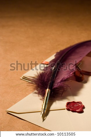 Still-life with a quill and a letters on a background on a rough paper surface. - stock photo