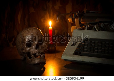 Still Life with a Skull , candle and Typewriter