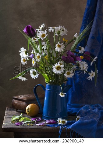 Still life with a summer bouquet - stock photo
