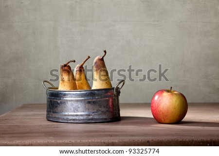 Still Life with Apple and Pears in metal Bowl - stock photo