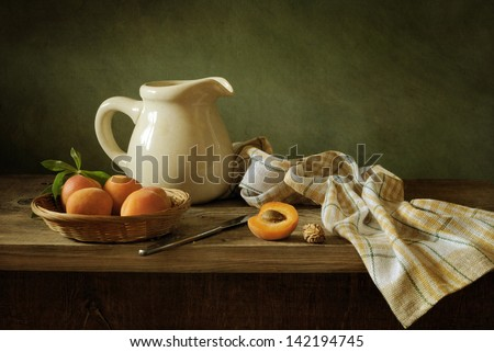 Still life with apricots - stock photo