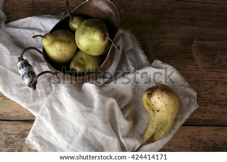 Still-Life with Arrangement of Pears  - stock photo