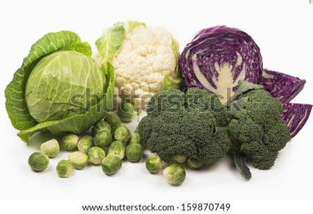 Still life with assortment cabbages - stock photo