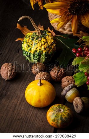 Still life with autumn harvest on wood background