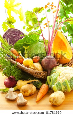 Still life with autumn vegetables - stock photo