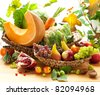 Still life with autumn vegetables and fruits - stock photo