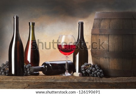 still life with barrel and red wine - stock photo