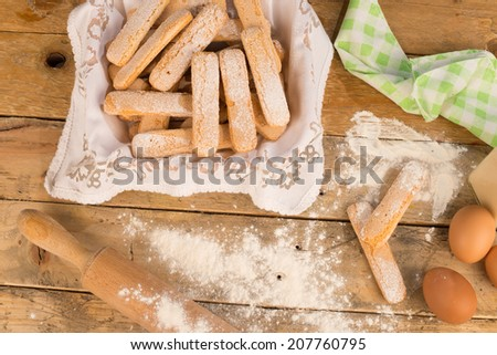 Still life with biscuits and its main ingredients