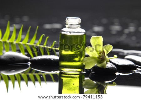 still life with bottle of essential oil and fern with orchid