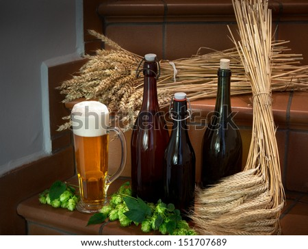 still life with bottles and raw material for beer production - stock photo