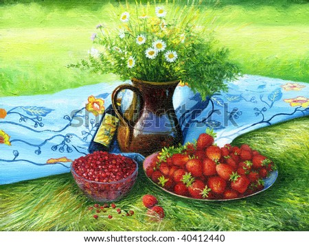 Still-life with camomiles and a strawberry - stock photo