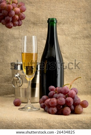 Still life with champagne bottle, grape and bucket - stock photo