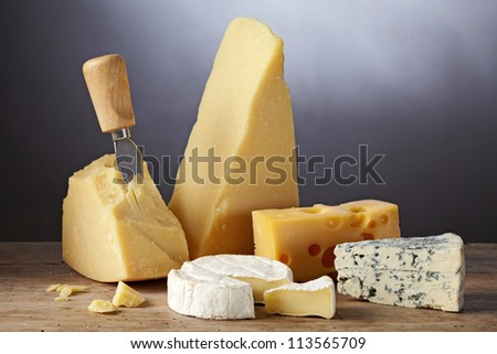 still life with cheese - stock photo