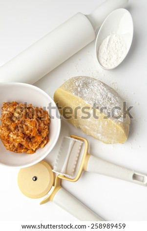 Still life with cooking ingredients for making ravioli on white background - stock photo