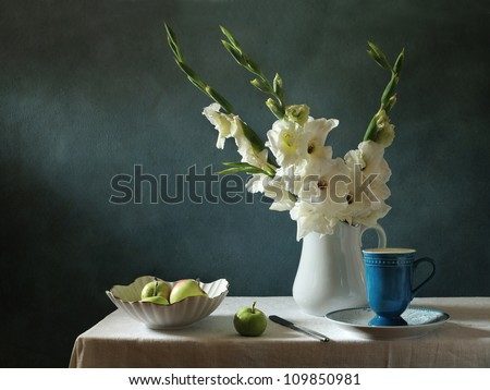 Still life with corn-flags and apples - stock photo