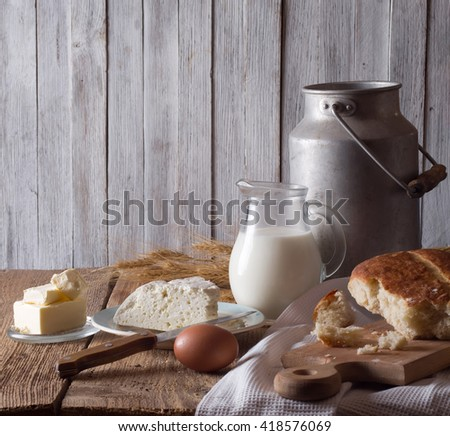 still life with dairy products - stock photo