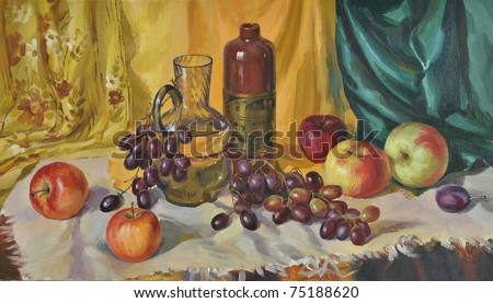 Still Life with Decanter, oil on canvas, original painting - stock photo