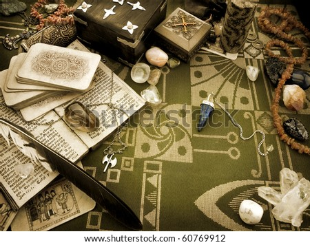 Still life with esoteric objects - stock photo
