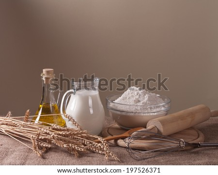 still life with flour, milk and wheat