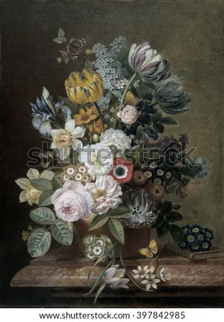Still Life with Flowers, by Eelke Jelles Eelkema, c. 1815-39, Dutch oil painting, oil on canvas. Bouquet of roses, tulips, daffodils, irises, on a stone plinth. Among the flowers is a butterfly. A sma - stock photo