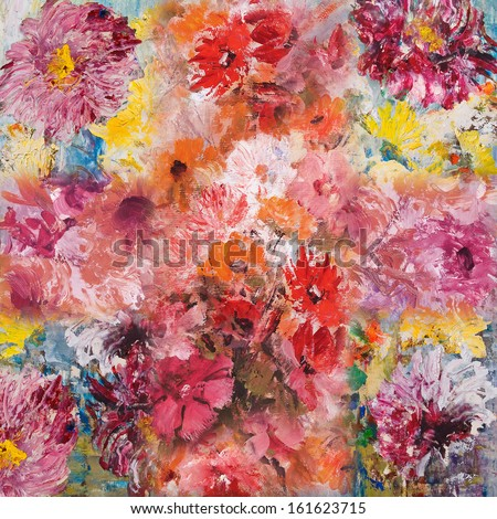 Still Life with Flowers, wallpaper, decorative background, oil painting - stock photo