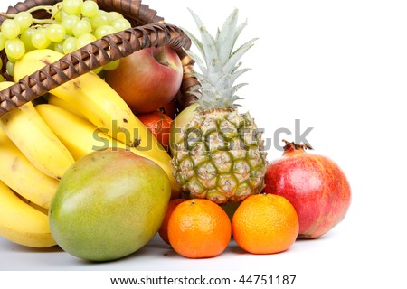Still-life with fresh appetizing fruits. Close up. - stock photo