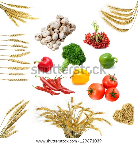 Still-life with fresh vegetables isolated on a white background - stock photo