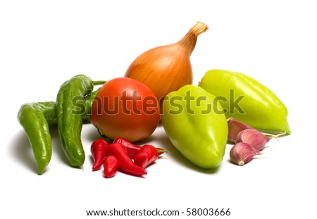 Still-life with fresh vegetables on a white background. - stock photo