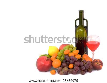 Still life with fruit - kumquat, apple, grapes, peach, lemon, tangerine - stock photo
