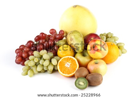 Still-life with fruits on a white background