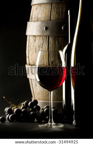 still life with glass wine - stock photo