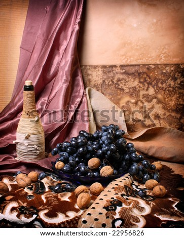 Still life with grape - stock photo