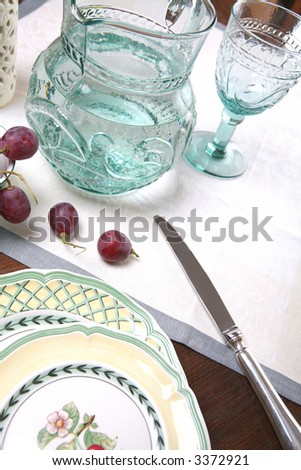 Still life with Grape and Pitcher, Plates