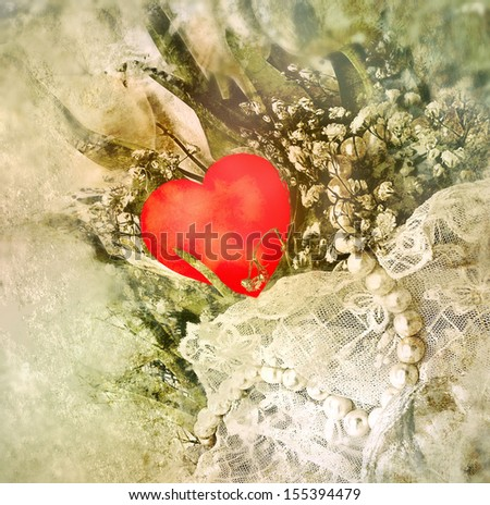 Still life with heart and pearls. Valentines day.  - stock photo