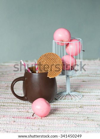 Still life with hot chocolate and dutch wafers - stock photo