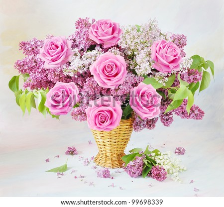 Still life with huge bunch of roses, lilac  flowers and lily of the valley flowers on painting background - stock photo