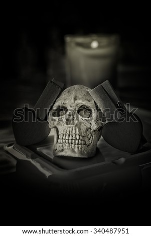 Still life with human skull on abstract background,Love style