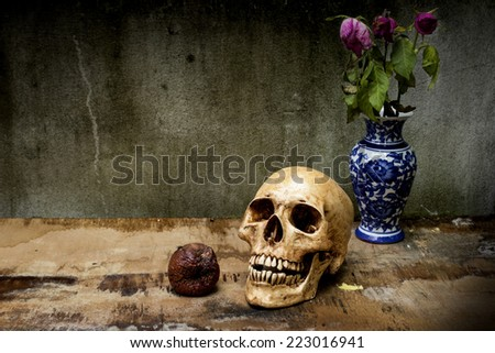 Still life with human skulls and apple rotten on wooden background - stock photo