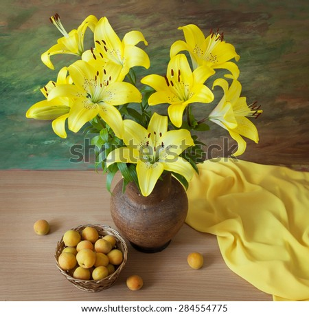 Still life with lily flowers bunch and apricot on artistic background - stock photo