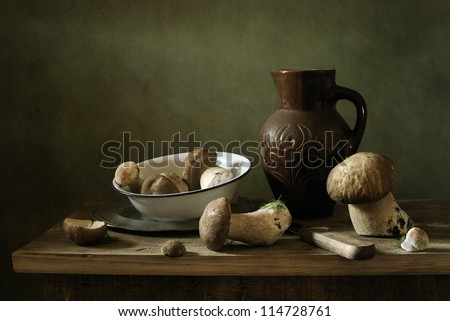 Still life with mushrooms - stock photo