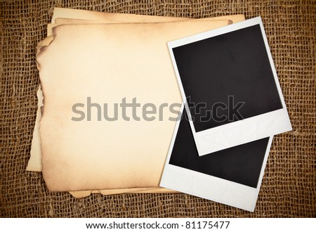 Still-life with old blank papers and photo cards - stock photo