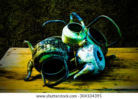 still life with old classic kettle - stock photo