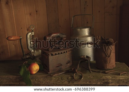 Still life with old things and apples