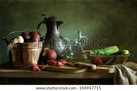 Still life with onions - stock photo