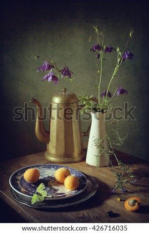Still life with peaches and an antique coffee pot (textured for artistic effect) - stock photo
