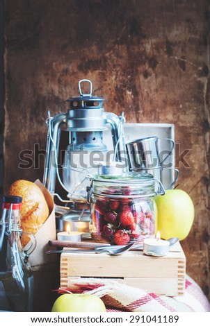 Still life with Picnic Set of Vintage objects and Food. Interior. Composition - stock photo