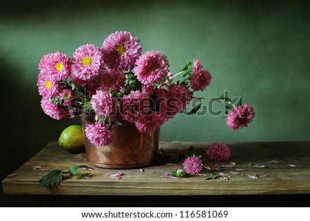 Still life with pink asters - stock photo