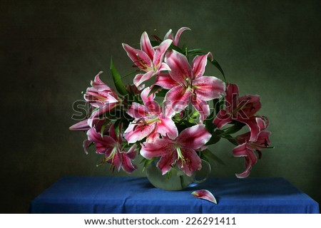 Still life with pink lilies - stock photo